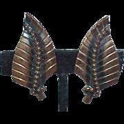 Whiting Davis Modernist Copper Earrings