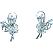 Beautiful Shimmery Blue Aurora Borealis Rhinestone Earrings