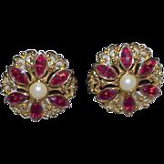 Vintage AVON Rhinestone, Mabe Faux Pearl Earrings
