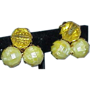 Vintage Creamy Yellow Lucite Bubble Bead Earrings