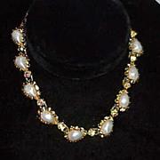 Pretty Choker Style Faux Pearl Aurora Borealis Necklace