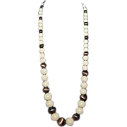 Creamy Pink and Dark Gold Tone Lustre Glass/Ceramic Bead Necklace