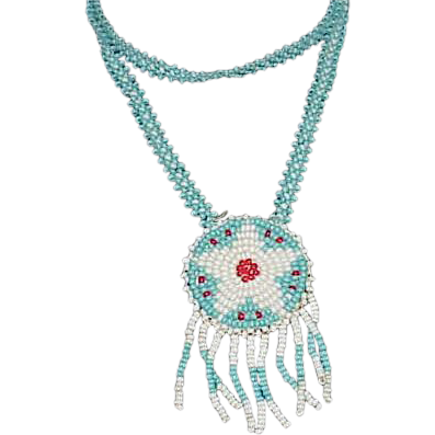 Pale Blue & White Glass Bead NATIVE AMERICAN Necklace
