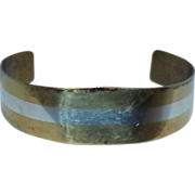 Vintage LILLIAN VERNON Sterling Inlay Gold Tone Cuff Bracelet