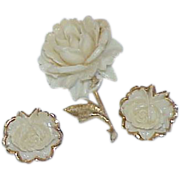 White Celluloid Rose Brooch with Earrings