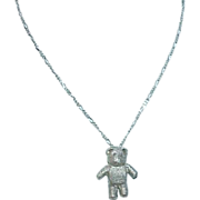 Pewter Teddy Bear on Sterling Chain