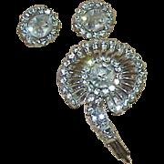 Sterling Crystal Rhinestone Brooch/Pendant and Earring Set