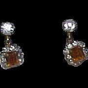 Vintage Rhinestone Ear Bobs Earrings