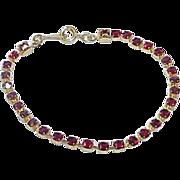 Vintage Red Rhinestone Line Tennis Bracelet