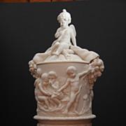 "SOLD Circa 1860 Antique signed Copeland ""Putti "" Parian Pedestal Urn with Cover"