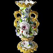 Rare, Coalport  Circa 1840  Floral Encrusted Porcelain Vase