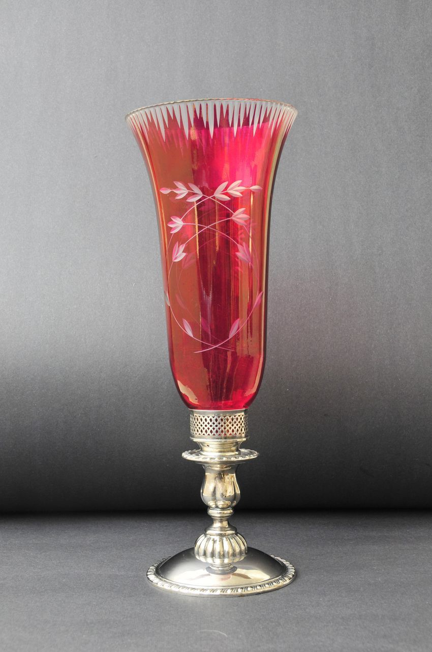 Superb, Etched Cranberry Glass Candle Stand,19th century