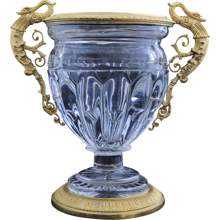Antique   Crystal with Bronze Dore Jardinere, France