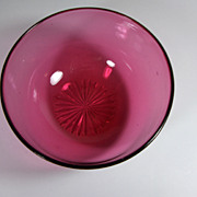 19th Century. English, Hand Blown Cranberry Glass Bowl