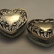 Elegant,  Pr. Antique Heart Formed Sterling with Cut Glass Powder or Vanity Jars