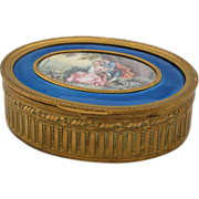 Antique Casket,  French Napolean III, Bronze Dore with Blue Guilloche