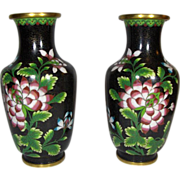 19th Century Chinese Black Cloisonne Floral  Vases