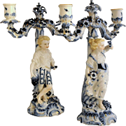 "Antique Pair of Hand Painted ""Seasons"" Figural Candelabra late 19th Century"