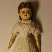 """22"""" Wax Over Papier Mache Doll with Original Clothing"""