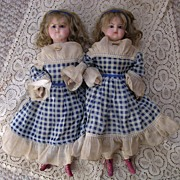 """15 1/2"""" Wax Over Compositions Twin Dolls"""