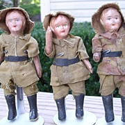 """Set of Three - 4"""" Composition Soldiers"""