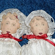 "8.5"" Printed Cloth Twin Dolls by Art Fabric Mills"