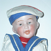"""8"""" Bisque Head Character Boy Doll ~ Dressed as a Sailor"""