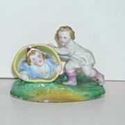 SALE All Bisque Figurine ~ Children Playing