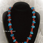 Turquoise and Branch Coral Necklace Very Vintage and Lovely