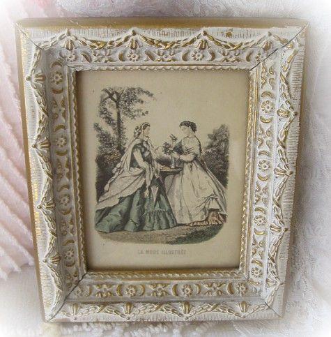 Original Petite French Print Framed in Original Gilded Elaborate Frame