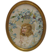 Antique Gilded Brass Oval Petite Frame with Antique Lithograph