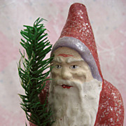 Desirable Antique Santa Father Christmas German Lavender Trim Candy Container Resembles Belsnickle
