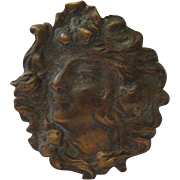 Art Nouveau Ornate Hat Pin High Relief Woman with Cascading Hair