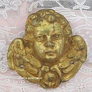 Vintage 19th Century Gilt Brass Cherub Putti Angel Ornament  Mount