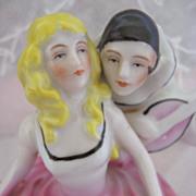 Delightful and Rare Two Figure Powder Box Art Deco Period Dresser Box
