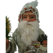 Fabulous German Santa Father Christmas Candy Container with Glass Eyes