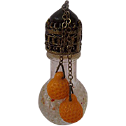 Vintage Miniature Czech Perfume Bottle Ornate Lid Dangling Beads