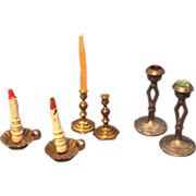 3 Pairs Vintage Miniature Dollhouse Doll Candle Sticks Holders