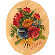Miniature Painting on Board Signed for Doll or Dollhouse