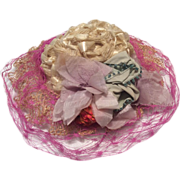 Straw Doll Hat or Bonnet with Pink Veil