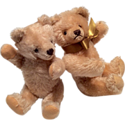 2 Vintage Teddy Bear Fully Jointed Mohair