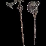 2 Vintage Figural Hatpin Trembling Flowers Metal Bird Hat or Hair Pin Set