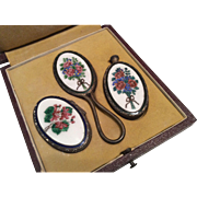 Enamel Perfume Scent Bottle Compact Hand Mirror Set in Fitted Original Presentation Box Miniature Child Doll Size or for French Fashion