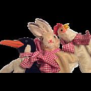 3 Vintage Steiff Hand Puppet Mohair Penguin Rooster Bunny Rabbit