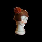 2-1/8 In. German Flapper Head Half Doll with Flower in Hair