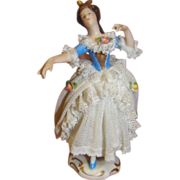 4 In. Signed Dresden Dancing Lady with Extended Arms