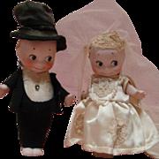 6 In. Kewpie Bride and Groom, Outstanding Attire!