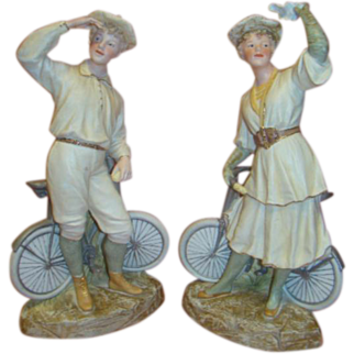 14 Inch Extremely Rare Pair of Bisque Heubach Cyclists, Germany, Sunburst Mark