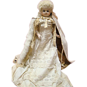 Extraordinarily Fine Condition Antique Wax Over Paper Mache Doll, Glass Eyes