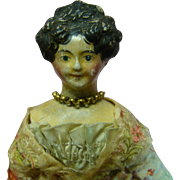 8 In. Original Molded Hair Papier-Mache Milliners' Model with Side Curls and High Beehive or Apollo Knot